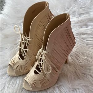 Open Toe Nude Ankle Boots